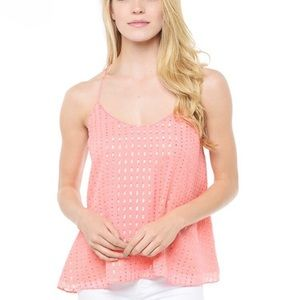 Lilly Pulitzer Coral Maisy metallic tank top